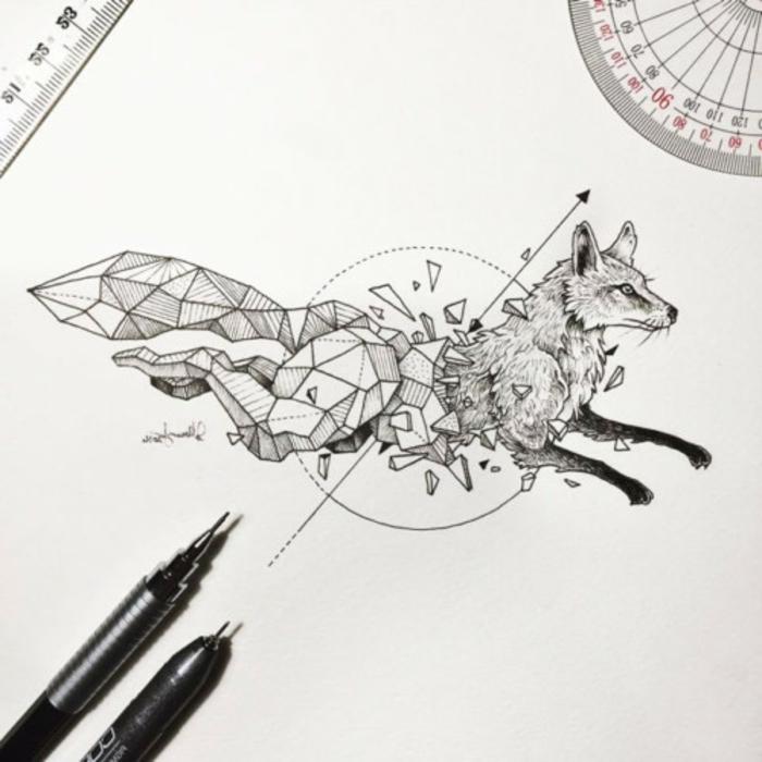 alucinantes ideas de tatuajes geométicos en fotos, diseños de tatuajes en dibujos, signficado de los tatuajes con animales