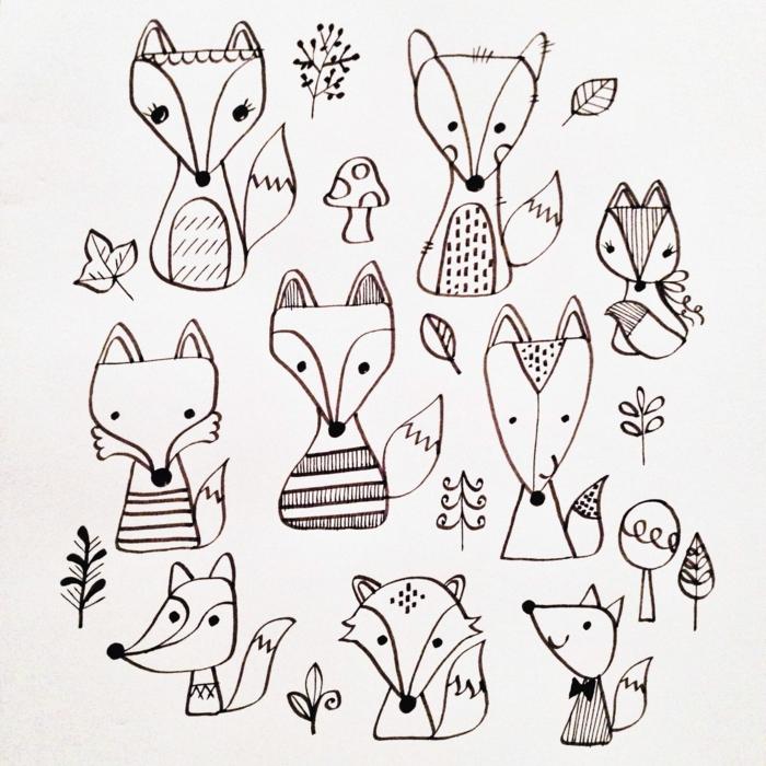 dibujos de chicas kawaii y animalitos, ideas de dibujos de animales, zorros simpaticos para redibujar, dibujos paso a paso