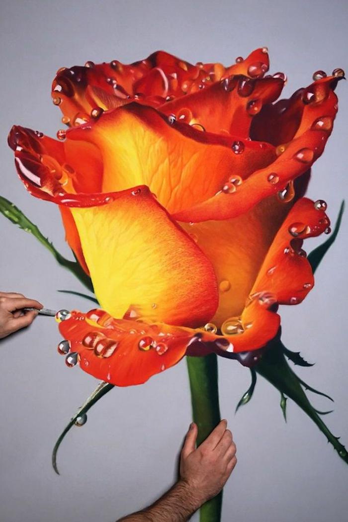 dibujo de rosa en estilo hipperrealista, ramo de flores dibujo, alucinantes ideas de dibujos originales en bonitos colores