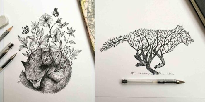 ideas de diseños de tautajes originales con detalles de naturaleza, dibujos para colorear tumblr, dibujos para inspirarte