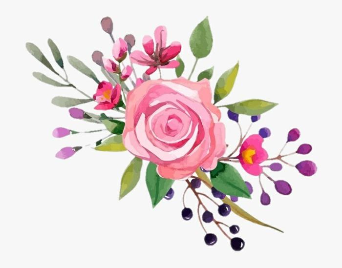 ramo de flores dibujo original con una rosa en color rosado y flores de campo, aprender a dibujar paso a paso en fotos