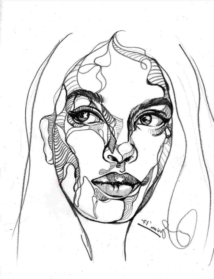 precioso retrato de mujer en blanco y negro, cosas para dibujar abstractas, dibujos de chicas, dibujos tumblr para dibujar