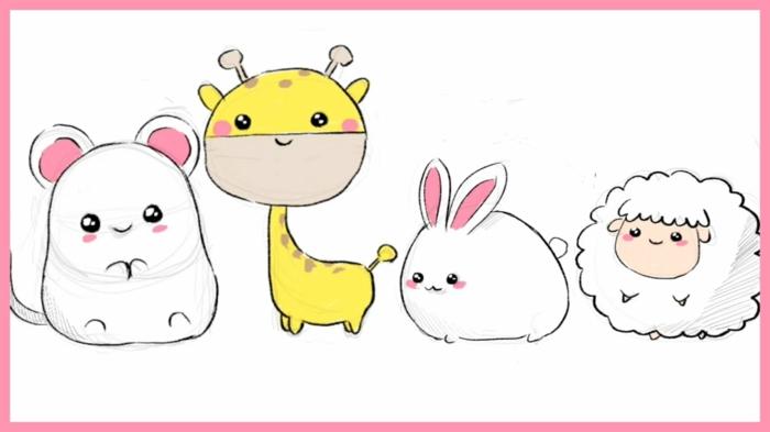 adorables propuestas de dibujos de animales y dibujos de chicas kawaii, fotos de dibujos tiernos y lindos para dibujar