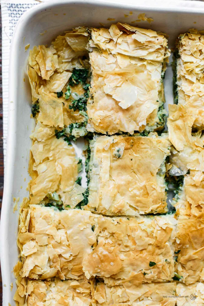 receta griega de empanada de espinacas, fantáscticas ideas sobre como cocinar espinacas, fotos de platos ligeros y ricos