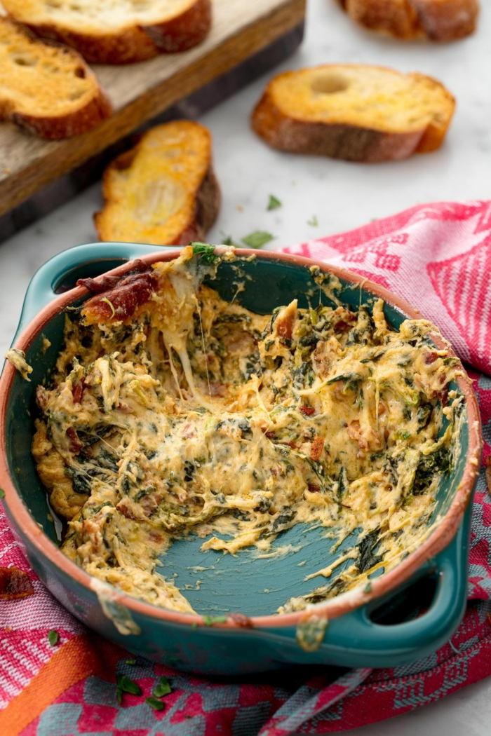 como preparar espinacas a la crema, ideas para hacer un dip casero con espinacas, ideas de recetas ricas para tus invitados