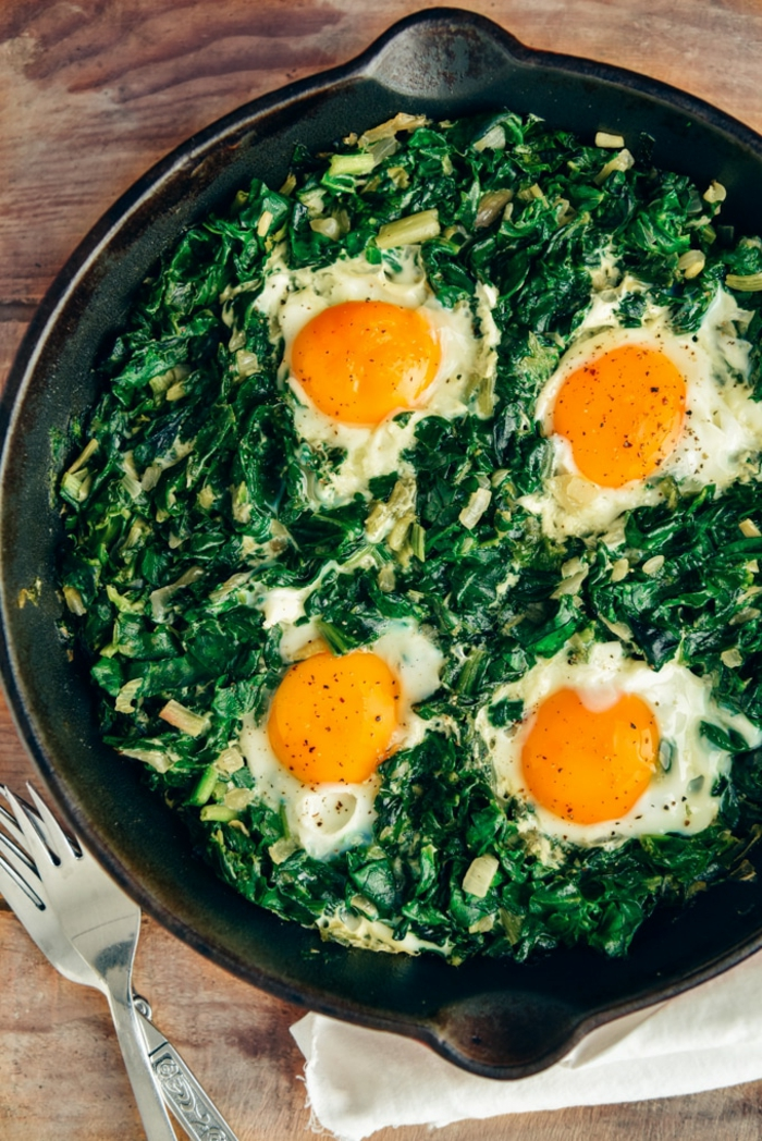 recetas de espinacas con huevo, espinacas cocidas en una sartén con huevos estrellados, ideas de reetas fácles y rapidas