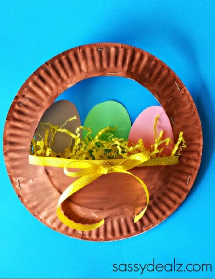 decoracion de pascua original con reciclaje, detalles decorativos con hacer con platos de plastico, manualidades para niños faciles y rapidas