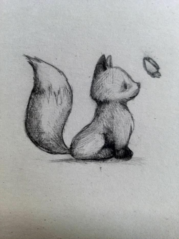 como dibujar un zorro tierno a lapiz, las mejores ideas de animales kawaii, fotos de dibujos originales y faciles de hacer