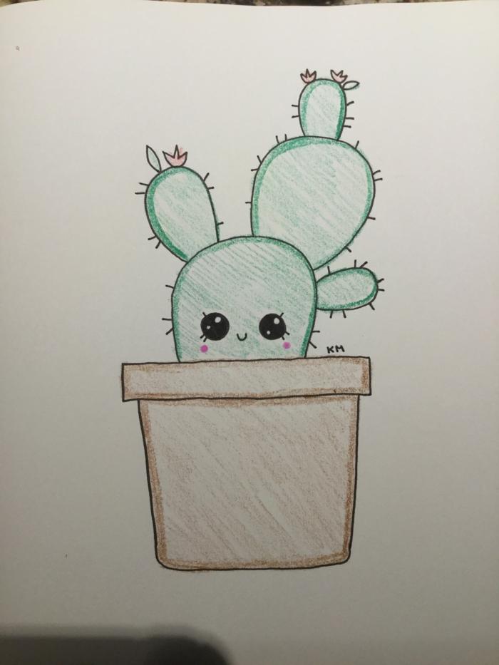 divujos a lapices en colores, animales kawaii y plantas lindas para dibujar, fotos de dibujos para dibujar con tus niños