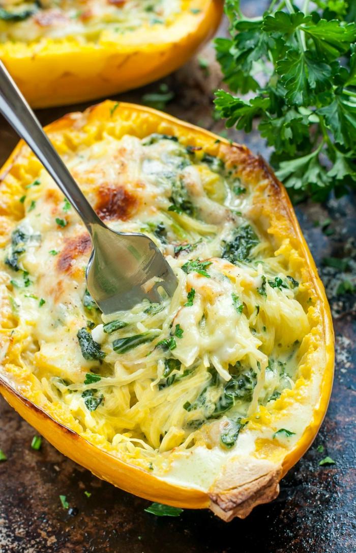 espinacas con huevo, recetas originales saludables y faciles de preparar en casa, fotos de recetas con calabaza ideas