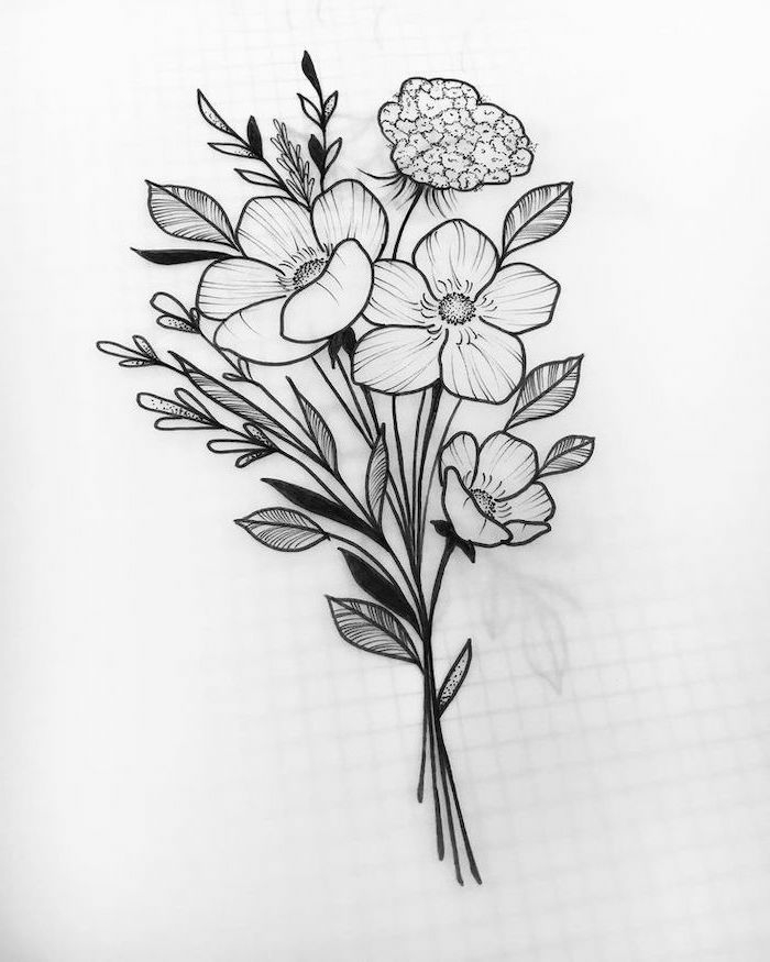 dibujos de ramos de flores a lapiz, ideas de dibujos faciles y rapidas, ideas para redibujar, cosas para dibujar bonitas
