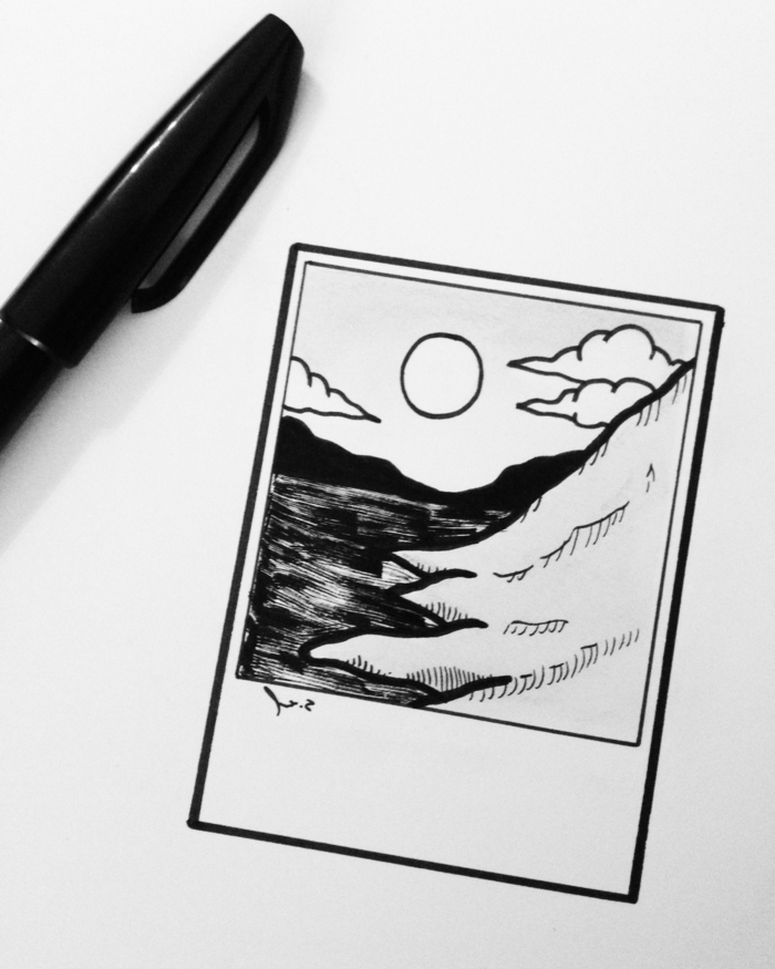 dibujos tumblr faciles con detalles de naturaleza, pequeños dibujos que enamoran, dibujo de foto instantanea naturaleza