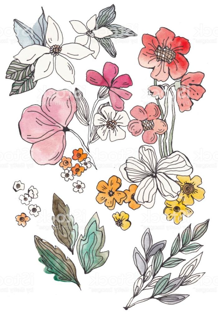 ideas de dibujos de flores en estilo vintage, diseños de tatuajes con flores, fotos de dibujos que inspiran en bonitos colores