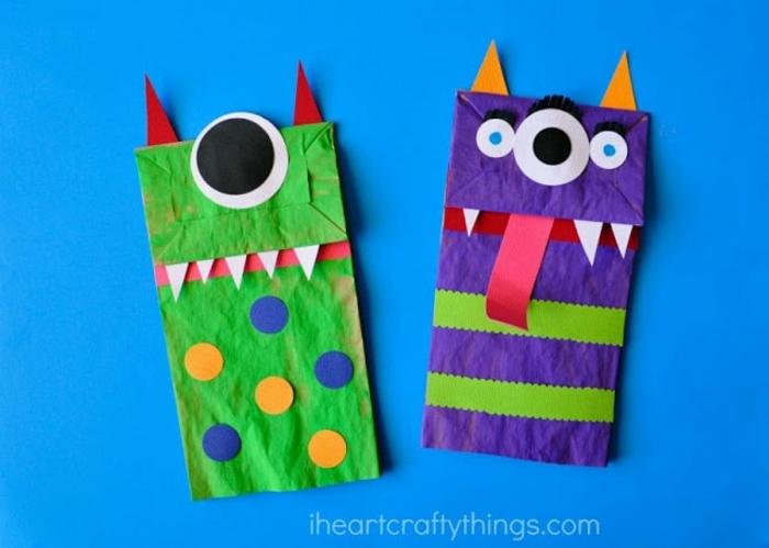 manualidades para niños con papel reciclado, bolsas de papel decoradas como monstruos, ideas de manualidades