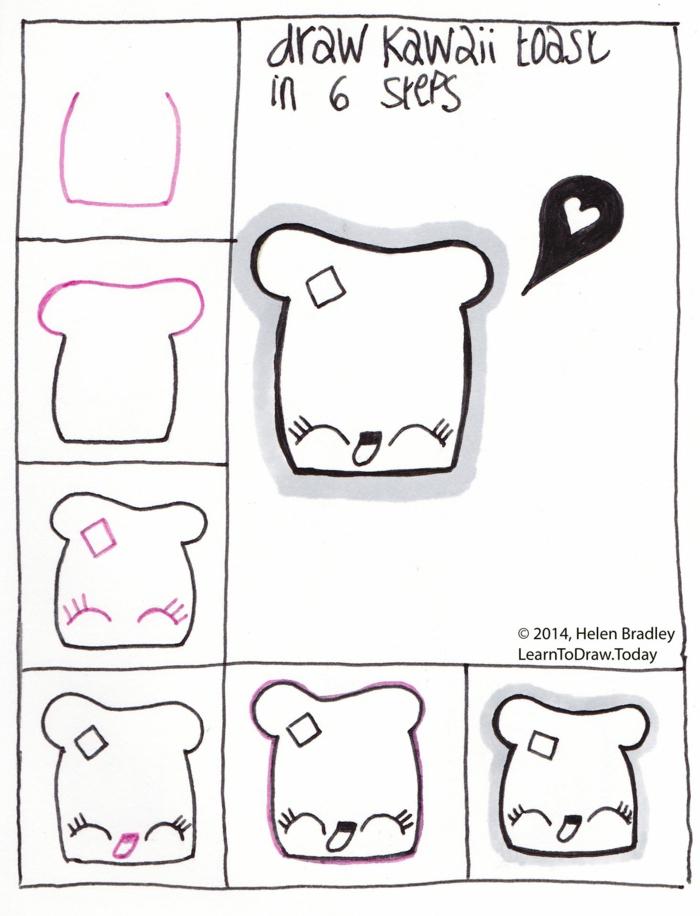 ideas de dibujos cuquisy dibujos de comida lindas, ideas de dibujos paso a paso, como dibujar una tostada kawaii