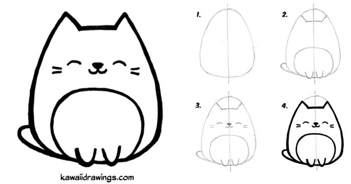gato en cuatro pasos, ideas de dibujos en pasos, dibujos kawaii para pintar, fotos de dibujos para redibujar, originales ideas de dibujos