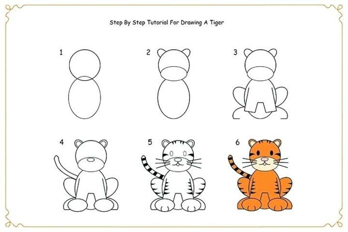 como dibujar un tigre paso a paso, fotos originales de dibujos, tutoriales de dibujos originales para descargar en casa