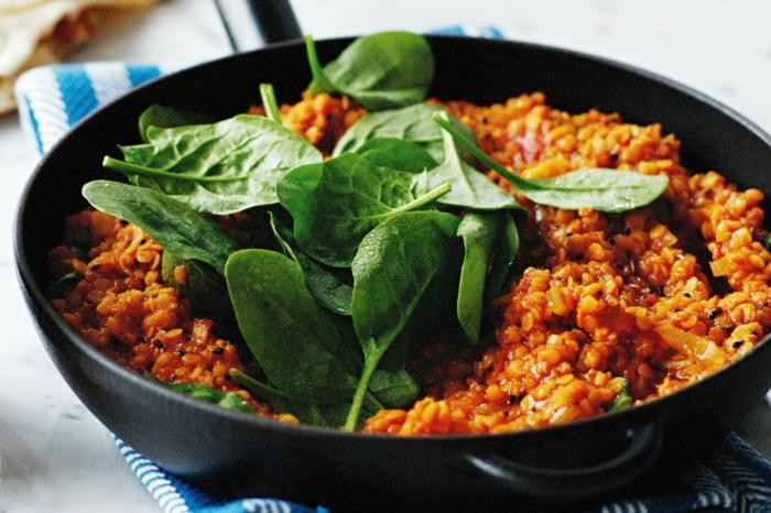 comidas ricas con espinacas, ideas de recetas veganas faciles y recetas vegetarianas faciles, fotos de platos sanos