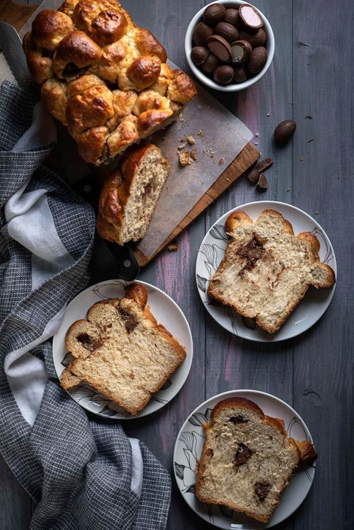 como preparar pan dulce con relleno de chocolate, las mejores ideas de recetas de mona de pascua en fotos