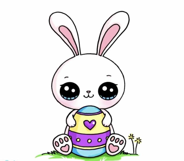 originales ideas de dibujos infantiles lindos, dibujos de conejos para Pascua, pequeños detalles coloridos para dibujar en casa