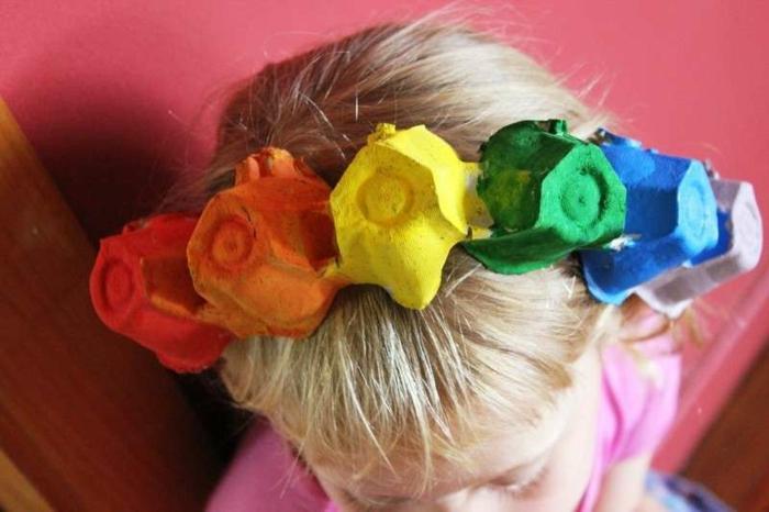 corona infantil de trozos de carton reciclado, manualidades de pascua para niños, ideas de manualidades de pascua para niños