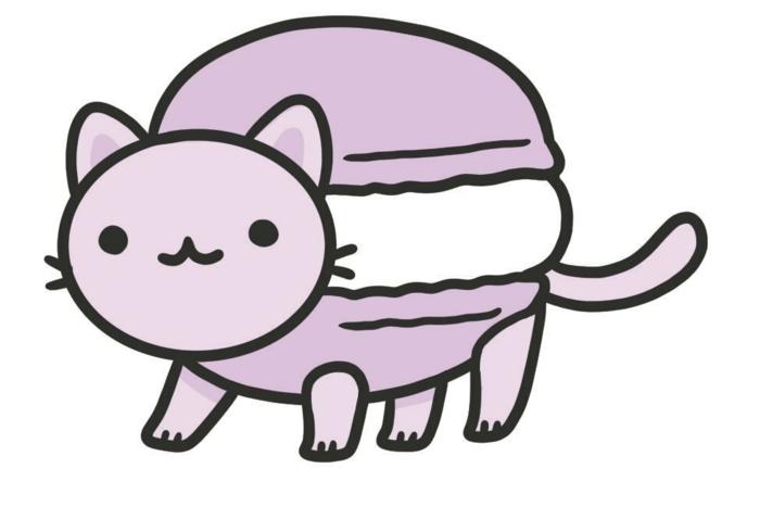 geniales ideas de dibujos comida kawai, gato en color rosado, mas de 90 imagenes con ideas de dibujos kawaii comida