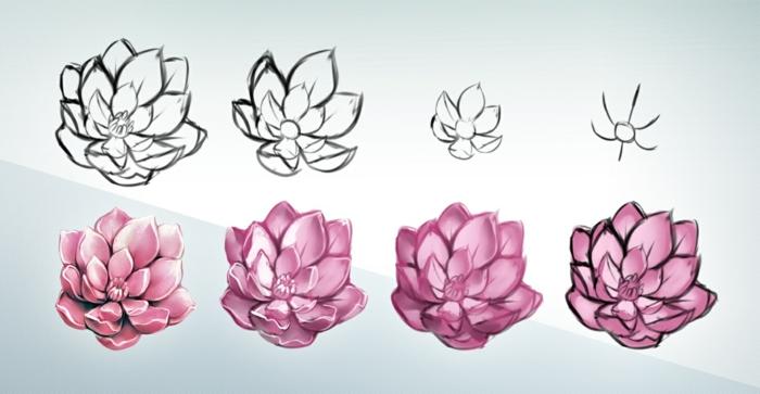 como dibujar una flor de loto paso a paso, dibujos de flores a lapiz con color, preciosas ideas de imagenes de dibujos