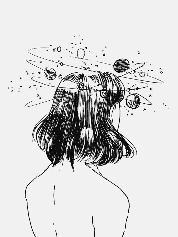 imagenes con ideas muy bonitas, dibujos tumblr faciles, imagenes de niñas con un significado simbolico, dibujos blanco y negro