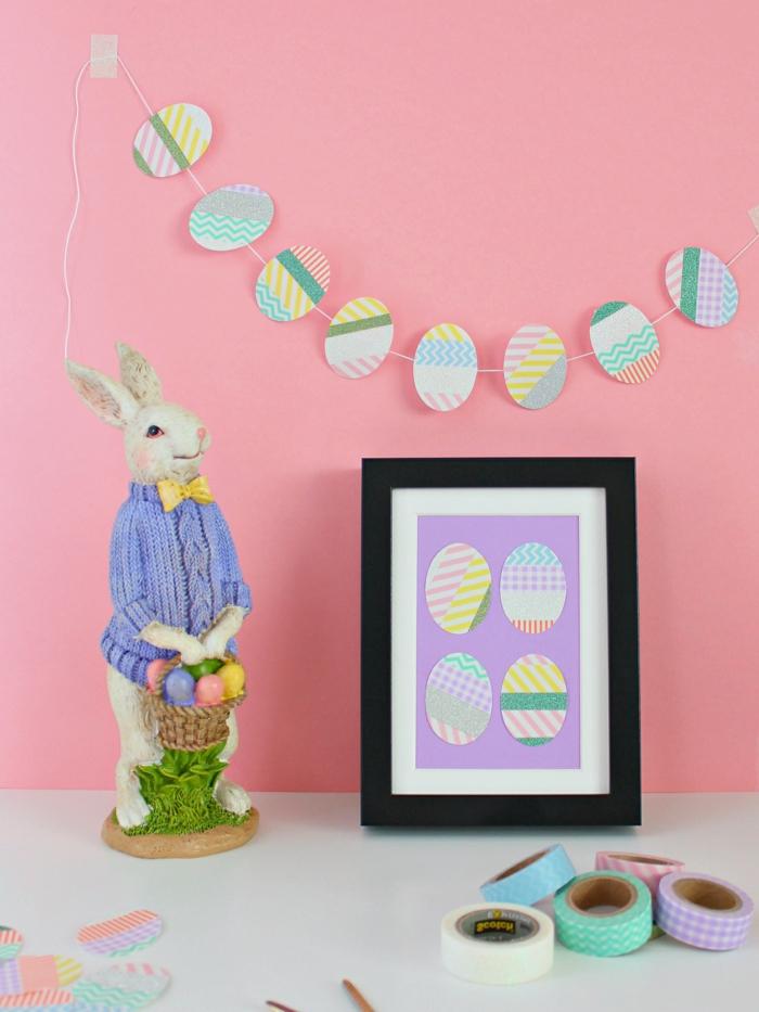 decoracion casera diy, cuadro decorativo en bonitos colores, decoracion con washi tape, manualidades en casa faciles