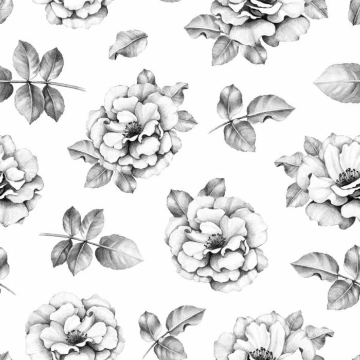 dibujos en blanco y negro con flores pequeñas, ideas de dibujos para redibujar en casa, fotos de dibujos bonitos y fáciles de hacer