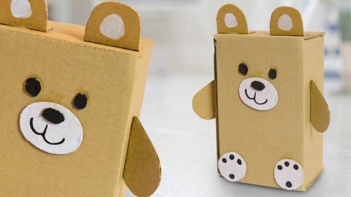 manualidades niños 4 años, manualidades de carton reciclado, como hacer detalles en divertidos de carton, osos de cartulina