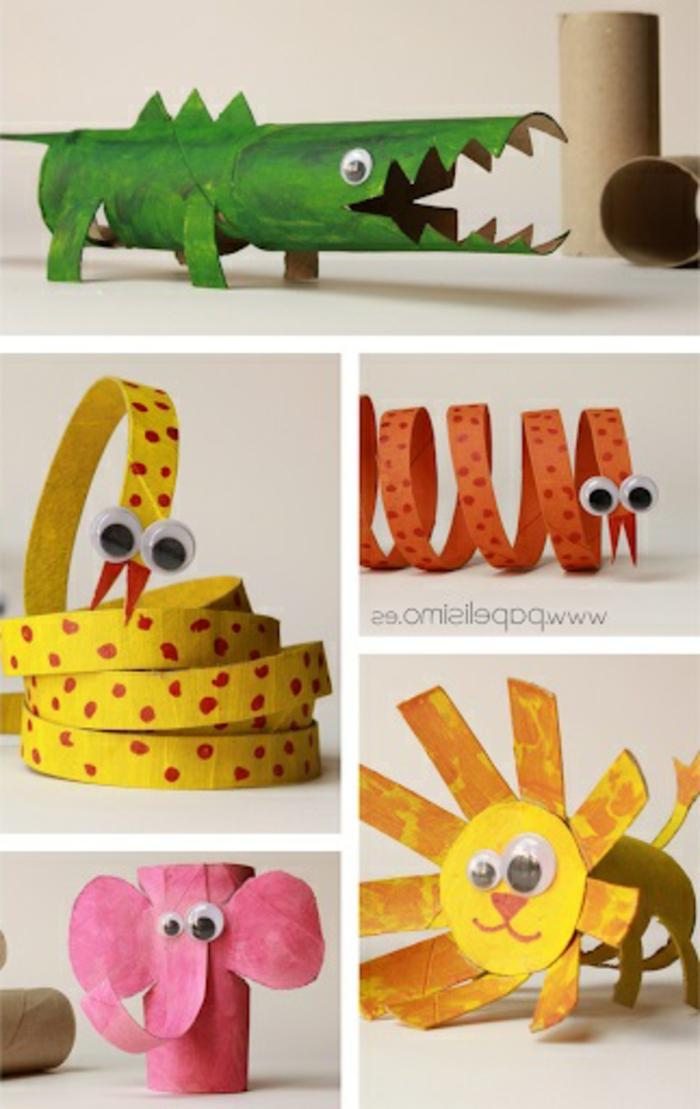 manualidades para niños de primaria con carton, diferentes animales para hacer de tubos de carton originales ideas