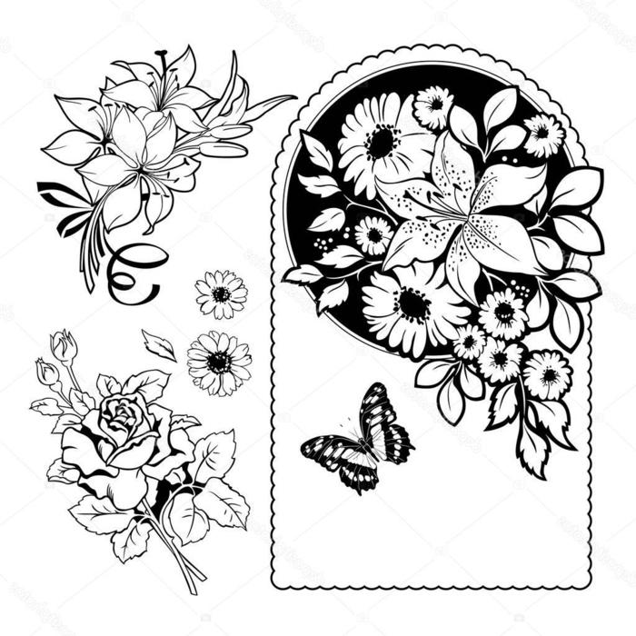 preciosos diseños con flores, motivos florales para redibujar, ideas de dibujos que inspiran, dibujos en blanco y negro