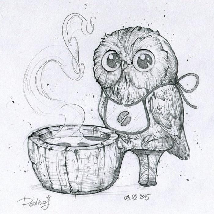 geniales ideas de dibujos simpaticos con ojos kawaii, ideas de dibujos originales de animales, foto de dibujo buho a lapiz