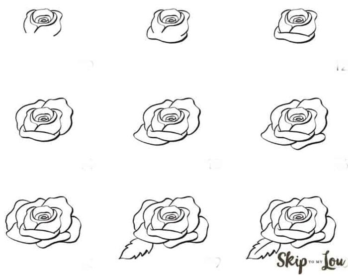 dibujos en blanco y negro, como dibujar una rosa paso a paso, ideas de dibujos faciles de hacer, petalos de rosas bonitos