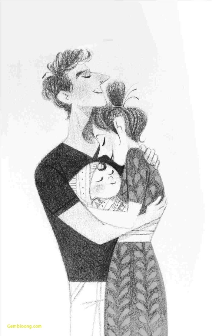 dibujos a lapiz tumblr inspiradores, dibujo de una familia con pequeño bebe, ideas de cosas kawaii que puedes dibujar en casa