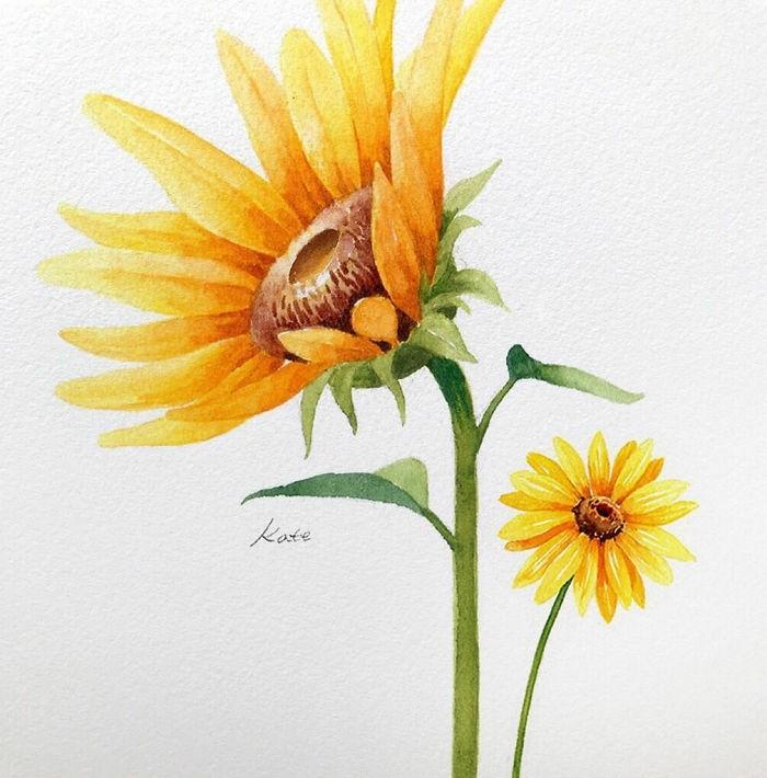 precioso dibujo de girasol con pintura acuarela, dibujos acuareles oriignales, ideas de dibujos de flores originales en colores