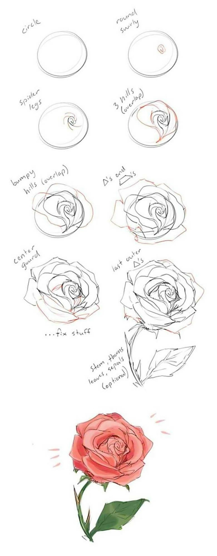 pasos para dibujar una rosa y pintarla, como dibujar una rosa, flores dibujos a lapiz, dibujos con acuarelas ideas bonitas