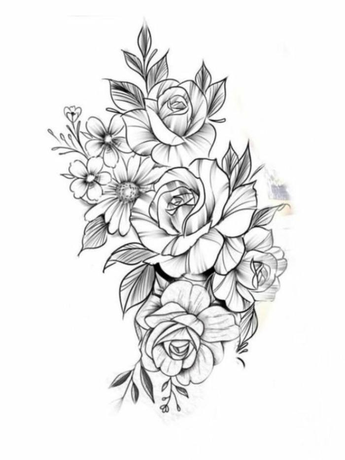 dibujos de flores bonitas, diseños de tatuajes con flores, ideas de dibujos con motivos florales bonitos y fáciles de hacer