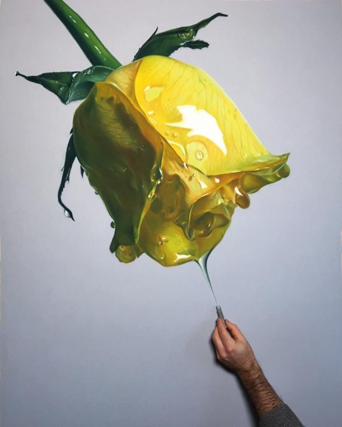 fantásticas ideas de dibujos en estilo hipperrealista, dibujar con acuarelas, ideas de dibujos, dibujos de flores bonitas