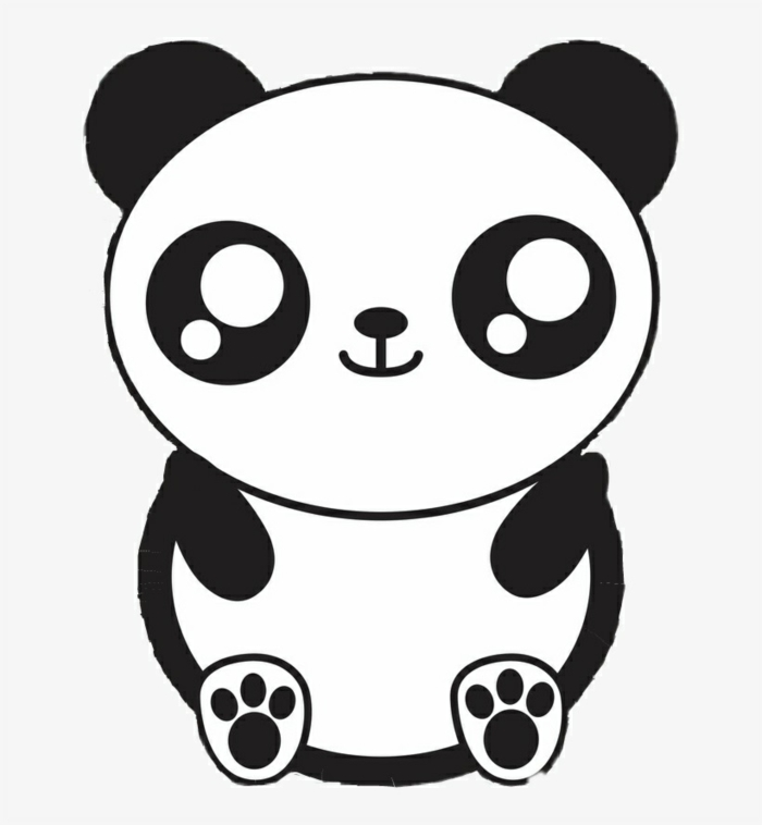 como dibujar una panda kawaii, ideas de dibujos chulos en blanco y negro, fotos de dibujos kawaii faciles para descargar