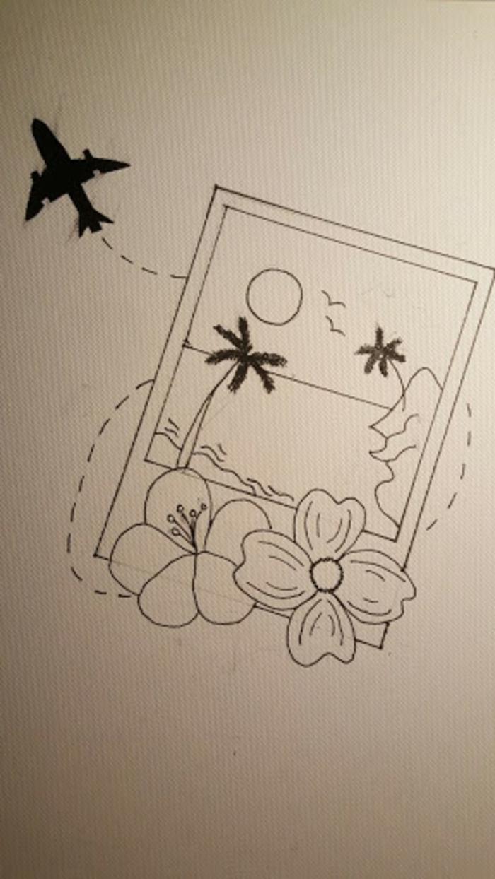 pequeños detalles para dibujar, ideas de dibujos para las personas que aman los viajes, dibujos tumblr blanco y negro