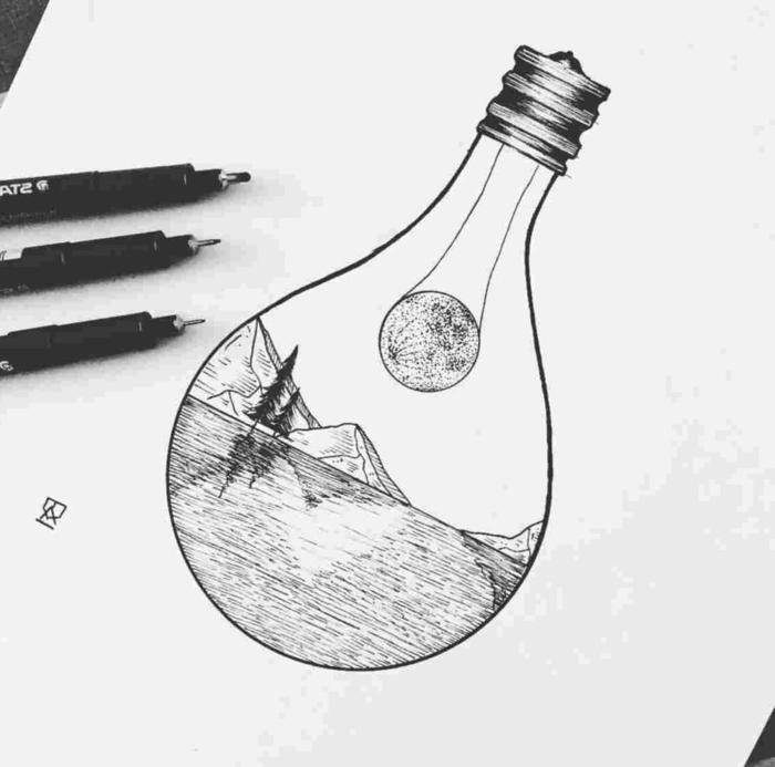 precioso dibujo de un paisaje natural abstracto, bombilla con precioso dibujo de naturaleza dentro, dibujos tumblr blanco y negro