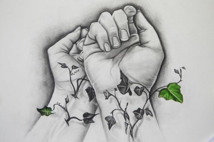 hermoso dibujos tumblr blanco y negro para parejas enamoradas, dibujo de manos en estilo realista y plantas que simbolizan la vida