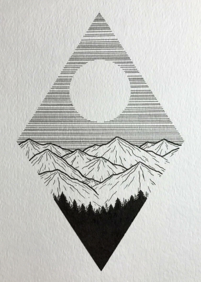 dibujos tumblr geometricos, diseños tumblr bonitos y originales con detalles de la naturaleza, rombo con motañas y sol
