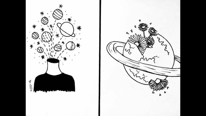 dos dibujos pequeños con ideas de diseños de tatuajes, dibujos tumblr blanco y negro, dibujos abstractos oriignales