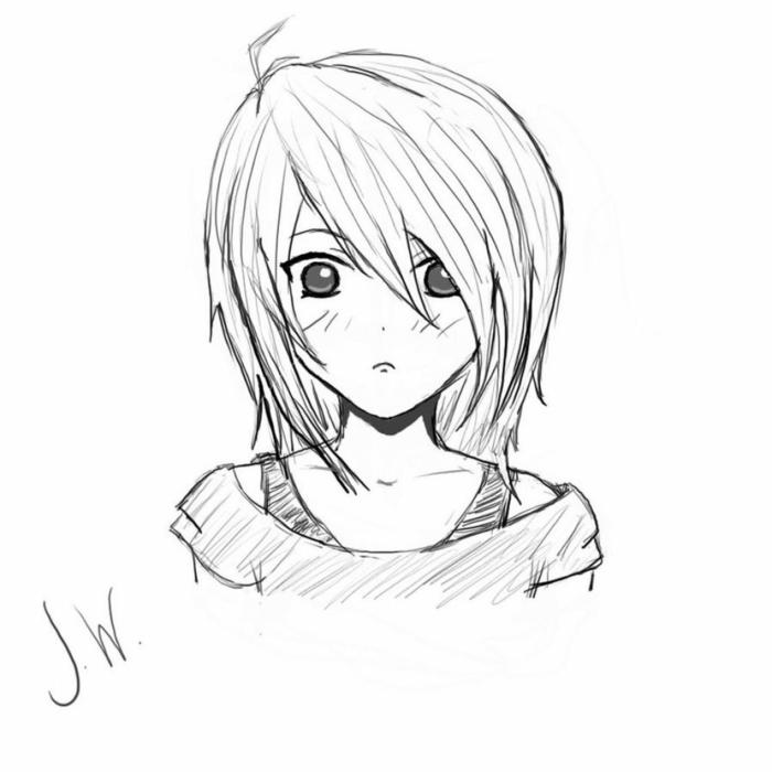 dibujo niña de los animes, originales ideas de dibujos para redibujar a lapiz en casa, fotos de dibujos bonitos y originales