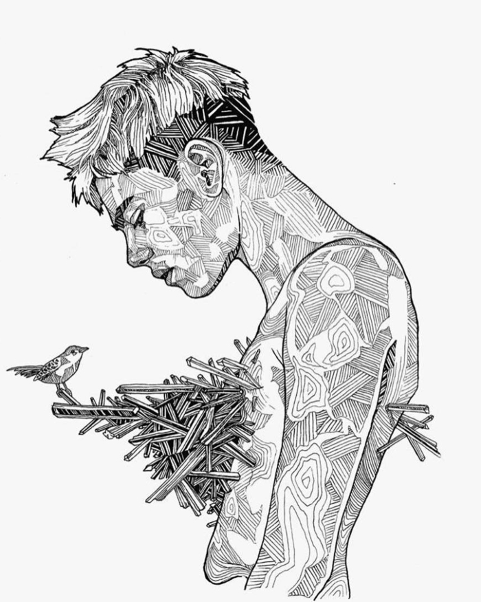 super originales ideas de dibujos simbolicos, dibujos tumblr a lapiz, hombre con flechas en el corazon y un pequeño pajaro