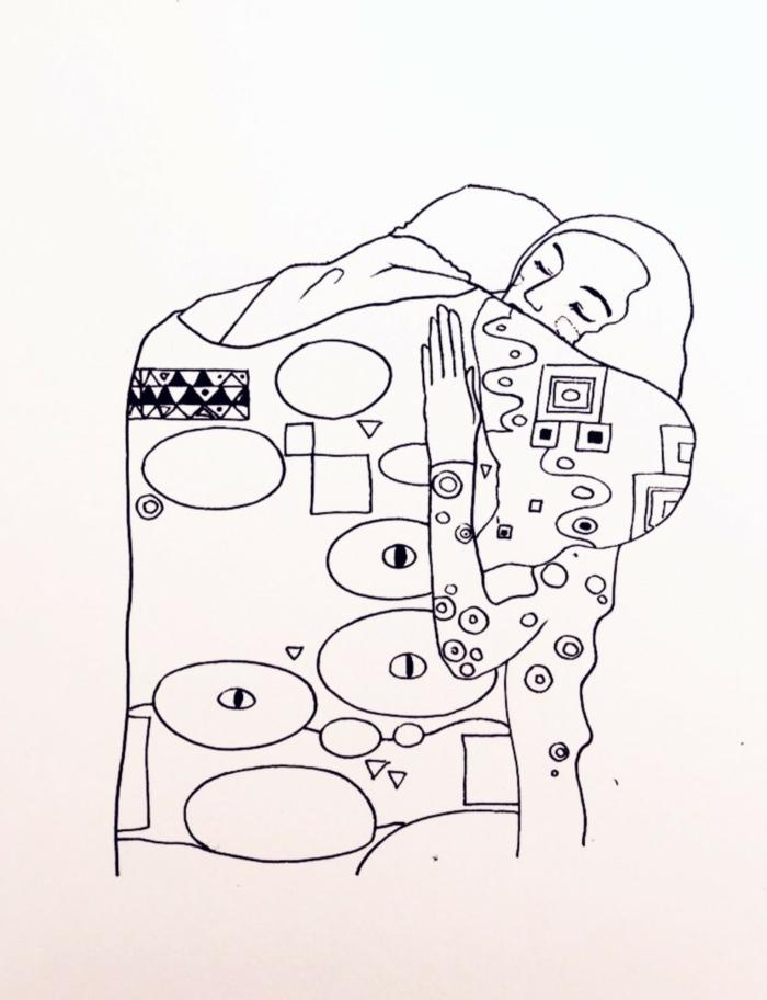 dibujos abstractos inspirados en grandes obras de arte, dibujos en estilo tumbl originales, dibujos tumblr a lapiz para calcar