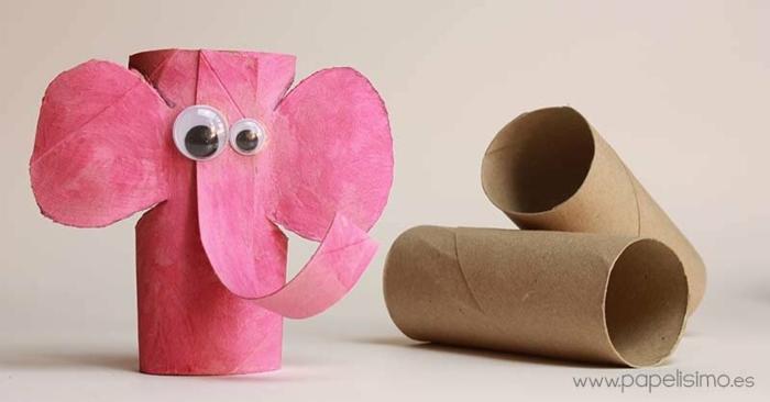manualidades para niños de primaria con carton, como reciclar los tubos de carton de rollos de papel higienico, elefante de carton